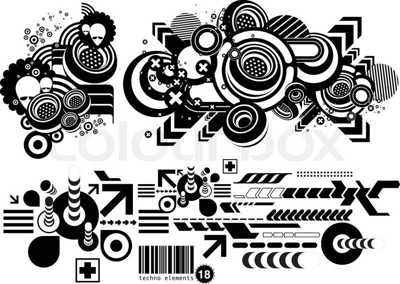 800x569 Techno Elemetnts Eighteen Stock Vector Colourbox