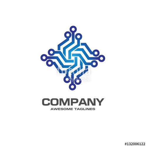 500x500 Digital Electronics Logo Design. Creative Electronic Circuits Logo