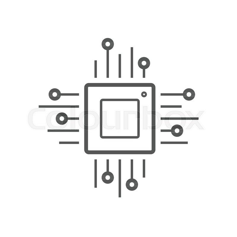 800x800 Microchip Line Icon. Cpu, Central Processing Unit, Computer