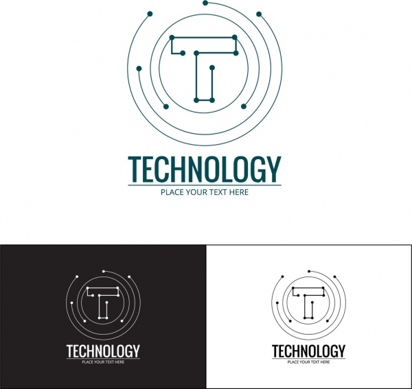 600x567 Technology Logo Sets Spots Connection Style Lettering Design Free