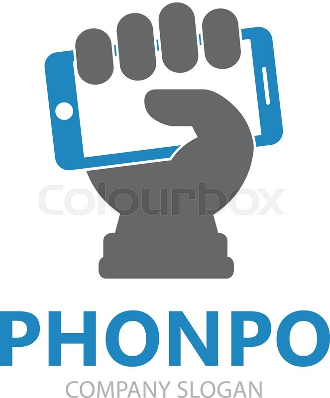 663x800 Vector Hand With Phone Logo Design Template. Mobile Phone Logo