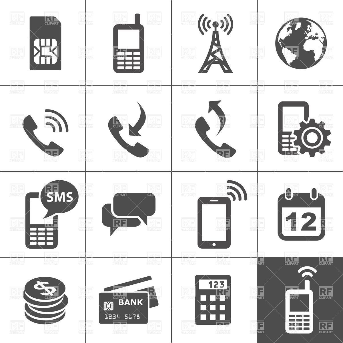1200x1200 Mobile Account Management And Services Icons Vector Image Vector