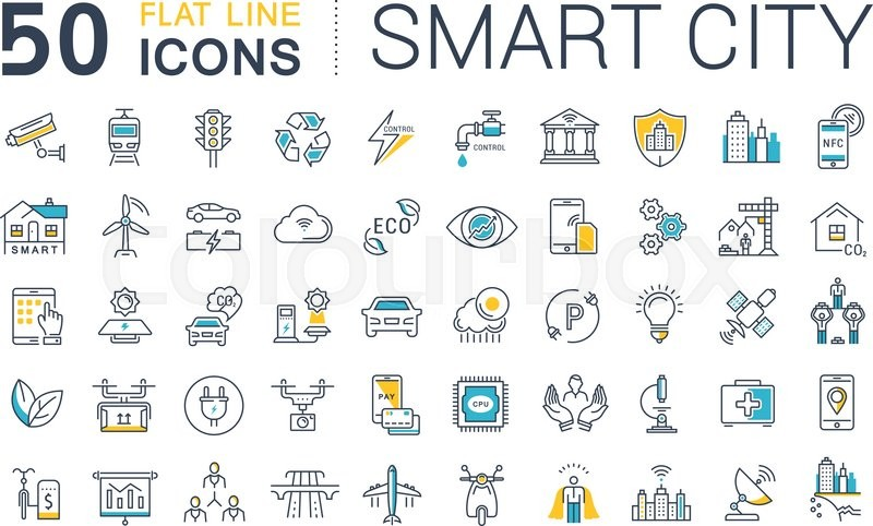 800x482 Set Vector Line Icons In Flat Design Smart City And Technology
