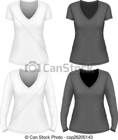 396x470 Women V Neck T Shirt Design Template Short And Long Sleeve. Vector