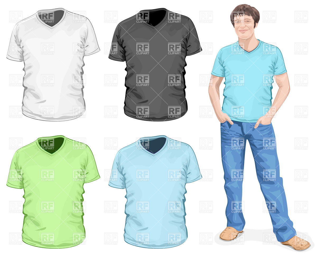 1200x966 Young Man In V Neck T Shirt And Jeans Vector Image Vector