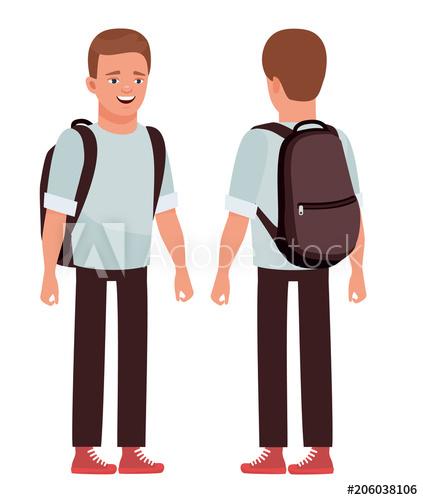 423x500 Student, College Student, Teenager. Vector Flat Cartoon Design