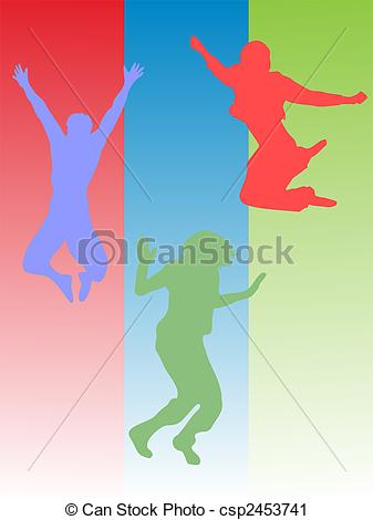337x470 Vector Illustration Of Jumping Teenager Silhouettes.