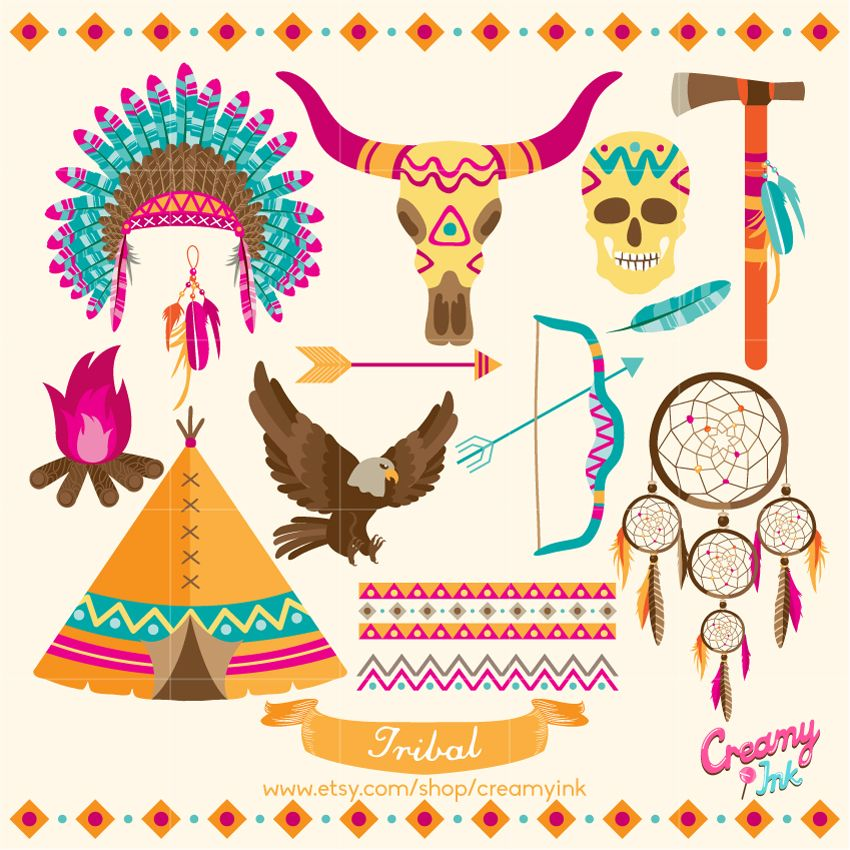 850x850 Tribal Digital Vector Clip Art Ethnic Clipart Design