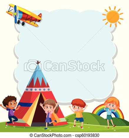 438x470 Children Playing With Teepee. Children Playng With Teepee