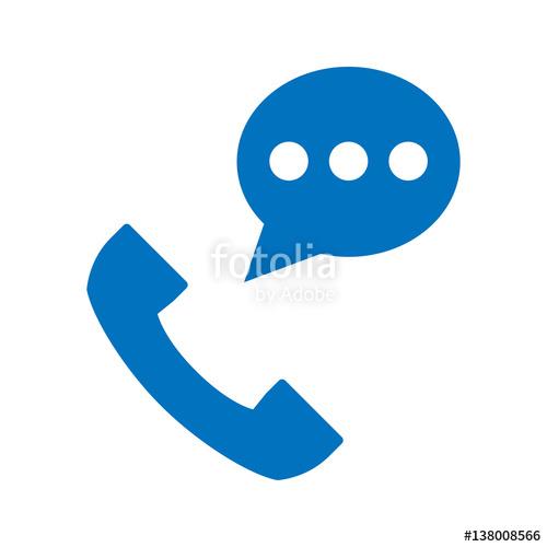 500x500 Icono Plano Telefono Con Sms Azul En Fondo Blanco Stock Image And