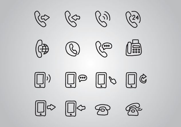 632x443 Set Of Doodled Telephone Icons Free Vector Download 431187 Cannypic