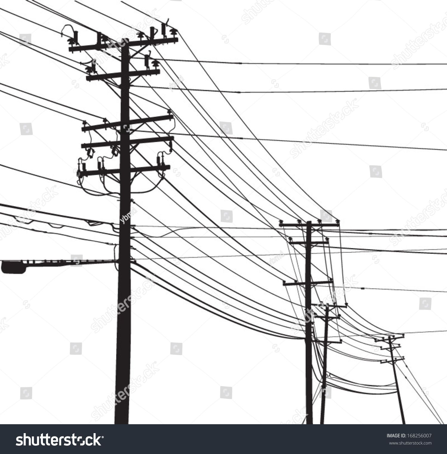1500x1524 Vector Silhouette Of Telephone Poles And Utility Poles