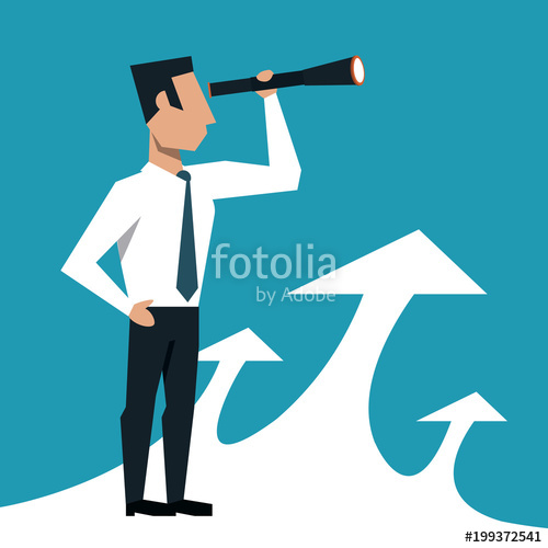 500x500 Businessman Looking From Telescope Vector Illustration Graphic