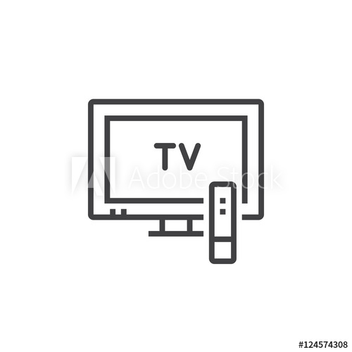 500x500 Television Line Icon, Outline Tv Vector Logo Illustration, Linear
