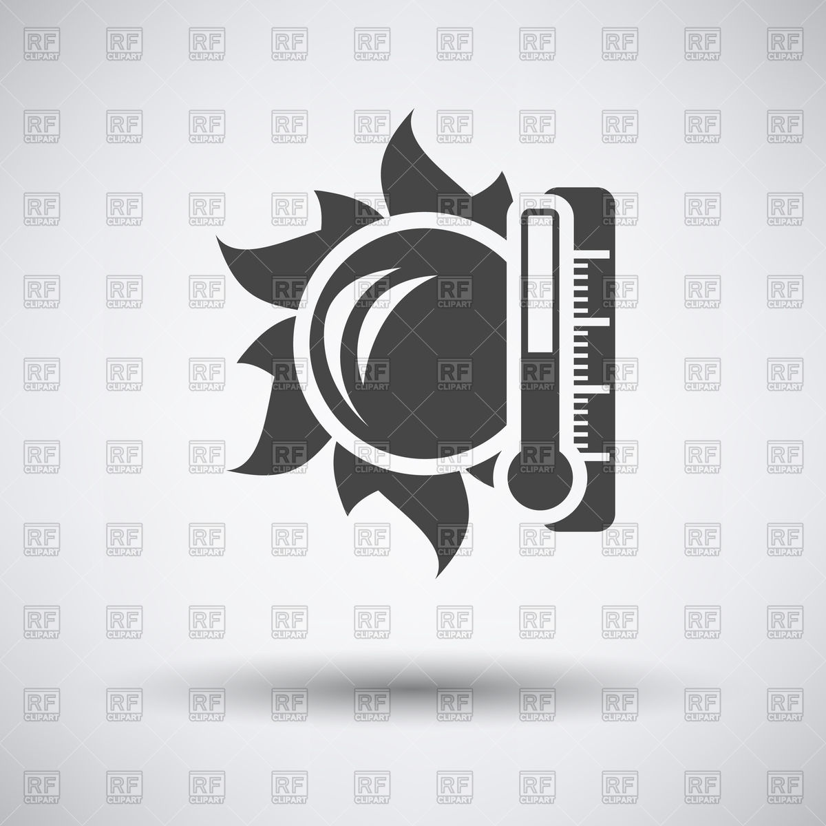 1200x1200 Sun And Thermometer With High Temperature Icon On A Gray