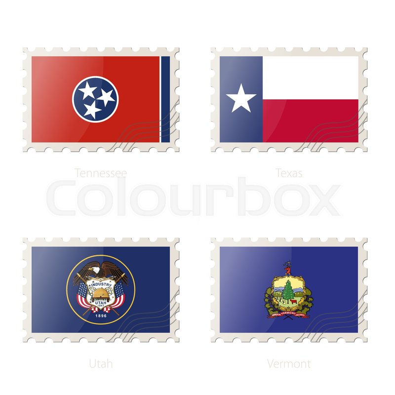800x800 Postage Stamp With The Image Of Tennessee, Texas, Utah, Vermont
