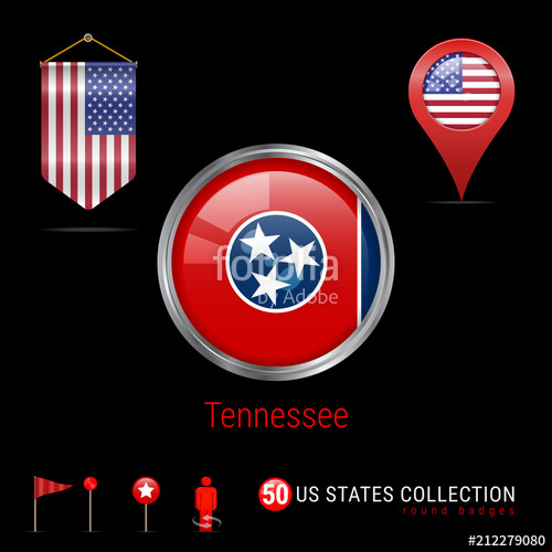 500x500 Round Chrome Vector Badge With Tennessee Us State Flag. Pennant