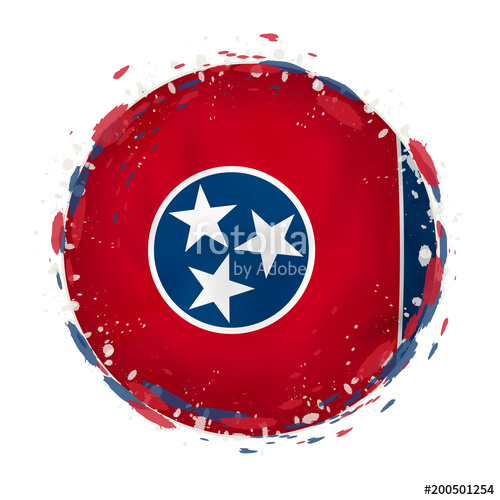 500x500 Round Grunge Flag Of Tennessee Us State With Splashes In Flag