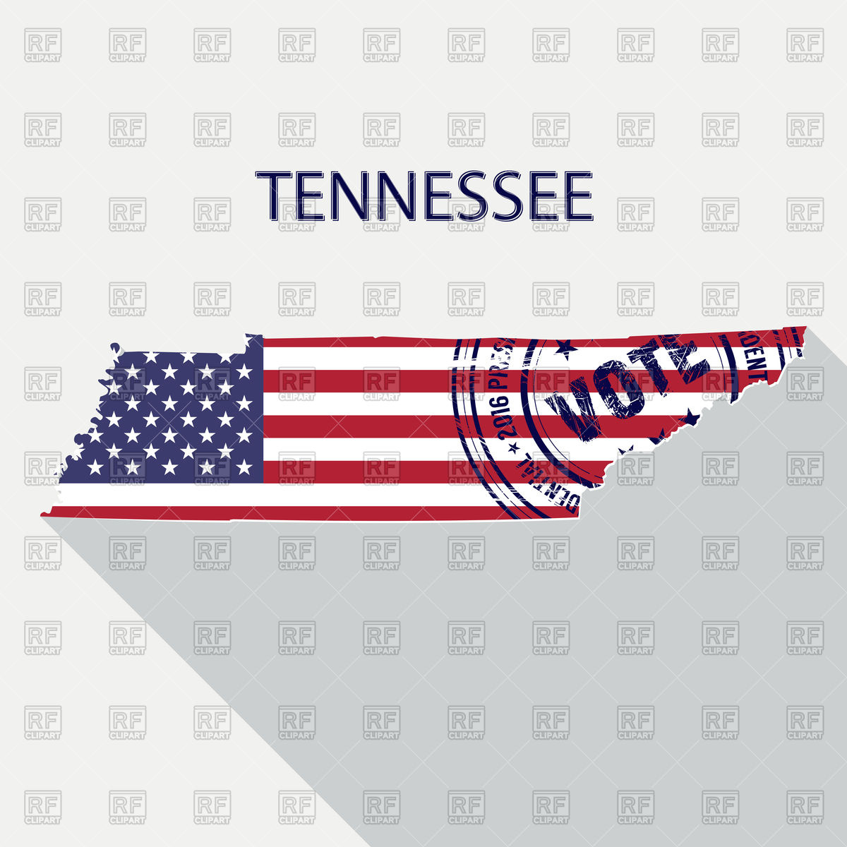 1200x1200 State Of Tennessee Map With Flag And Presidential Day Vote Stamp