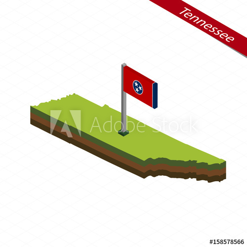 500x500 Tennessee Isometric Map And Flag. Vector Illustration.