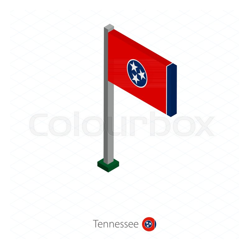 800x800 Tennessee Us State Flag On Flagpole In Isometric Dimension