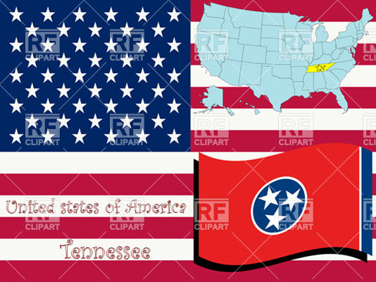 534x400 Tennessee State Flag And Map Vector Image Vector Artwork Of