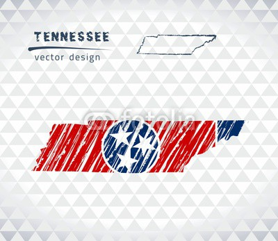400x347 Tennessee Vector Map With Flag Inside Isolated On A White