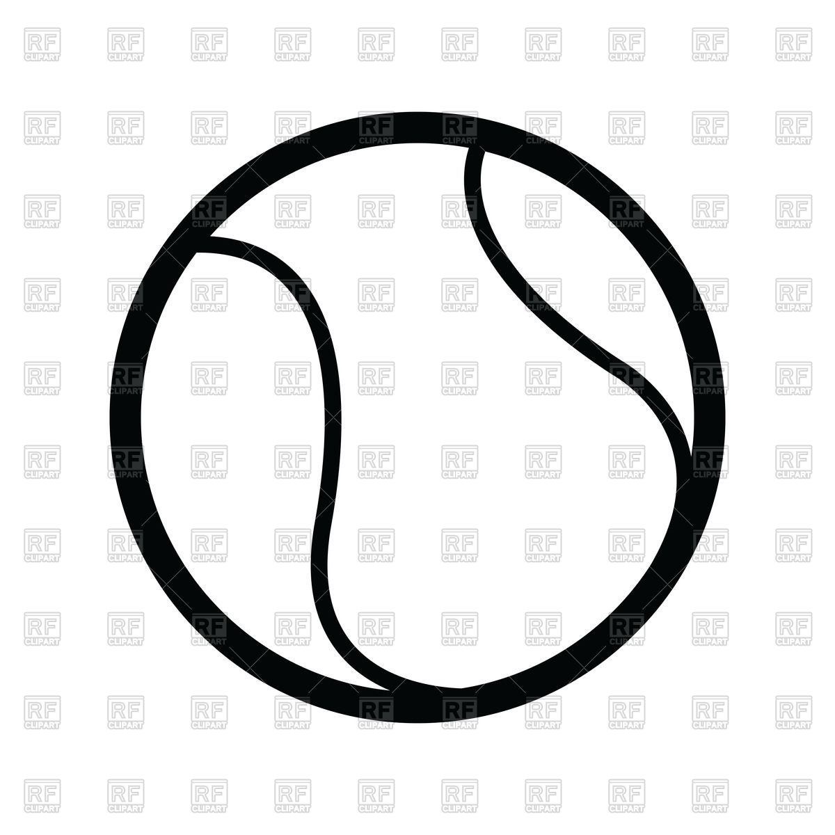 1200x1200 Outline Of Tennis Ball Vector Image Vector Artwork Of Sport And