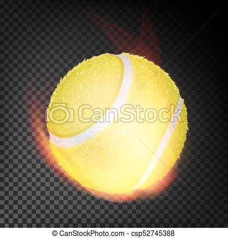 450x470 Tennis Ball In Fire Vector Realistic. Burning Tennis Ball