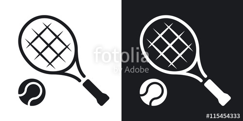 500x250 Vector Tennis Racket And Tennis Ball Icon. Two Tone Version On