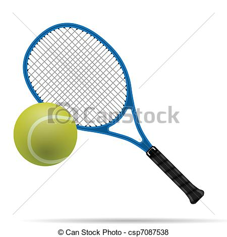 450x470 Racket And Tennis Ball. Illustration Of The Tennis Racket And Ball.