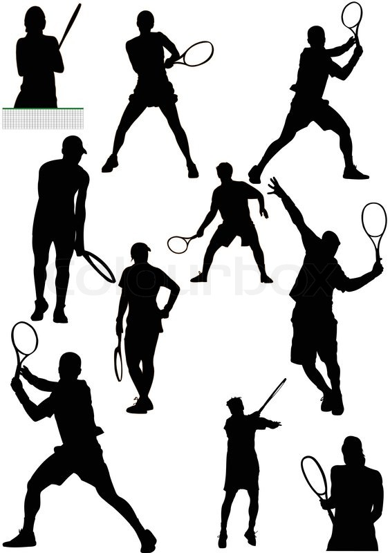 564x800 Big Collection Of Tennis Player Silhouettes Vector Illustration
