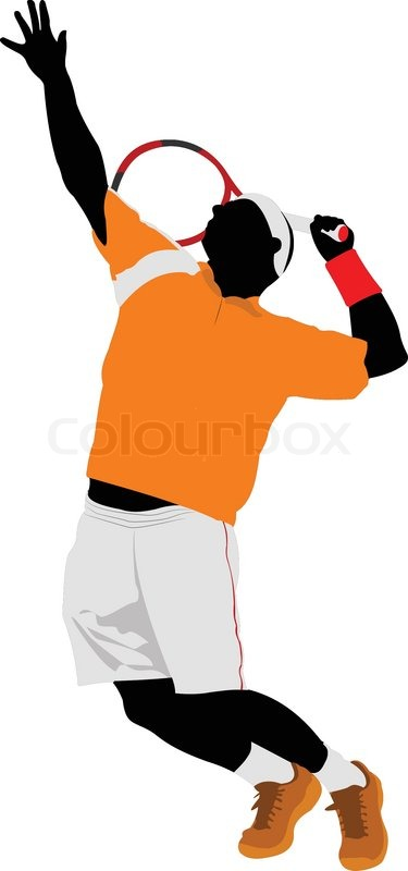375x800 Man Tennis Player. Colored Vector Illustration For Designers