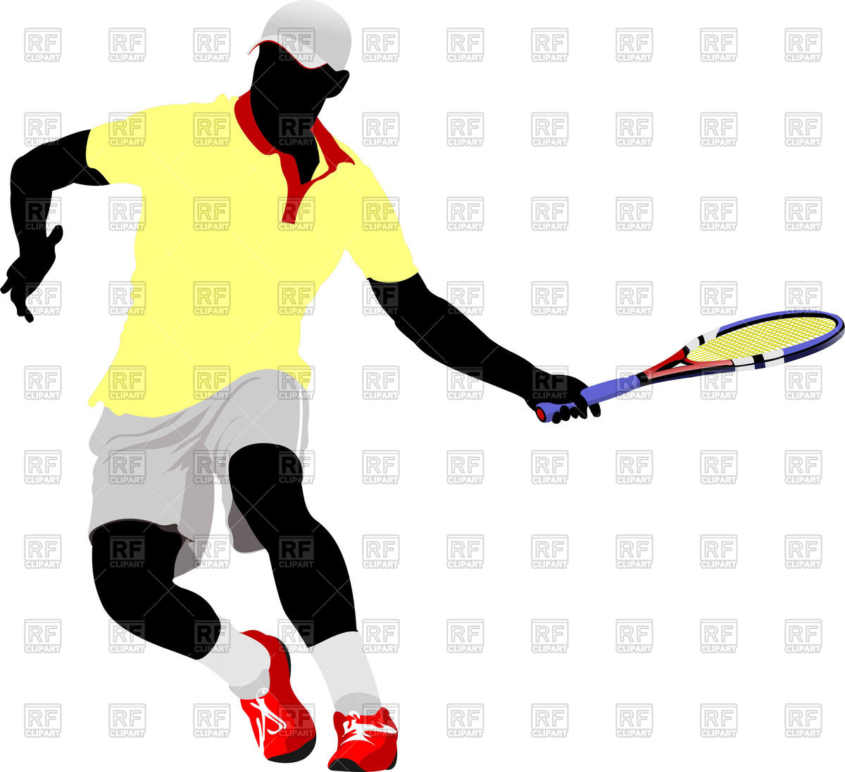 1200x1097 Silhouette Of Tennis Player In Action Vector Image Vector