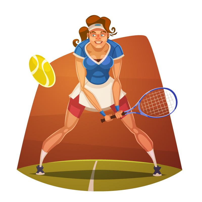 800x800 Cartoon Tennis Player Vector [Eps]