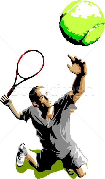 354x600 Tennis Player Silhouette Serving Ball Vector Illustration Dennis
