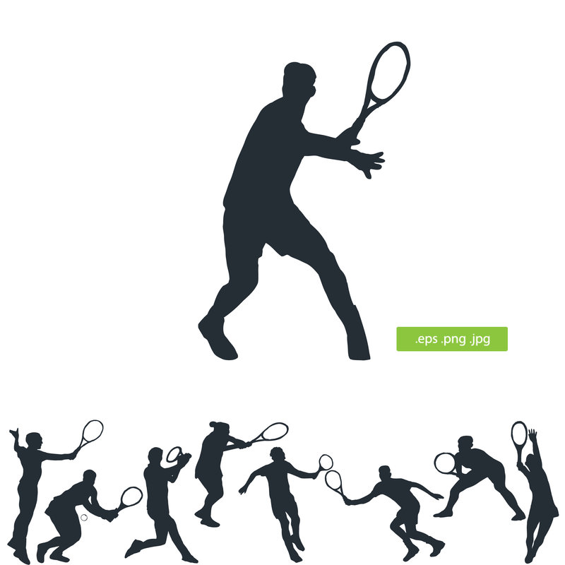 800x800 Tennis Player Vector Silhouette By Silhouettes Clipart