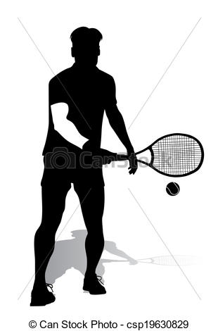 310x470 Tennis Player Vector Silhouette.