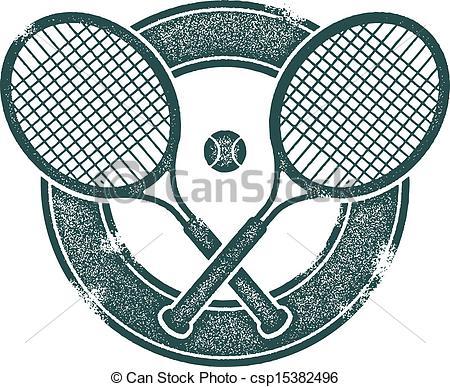 450x387 Vintage Tennis Vector Design. Crossed Tennis Rackets In Vintage