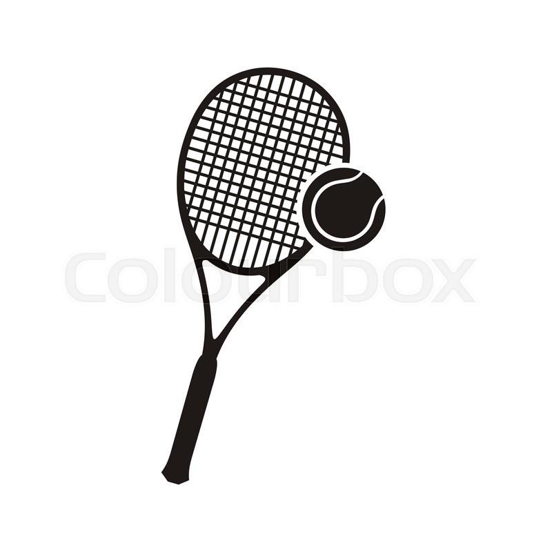 800x800 Monochrome Black Silhouettes Racket And Ball Icon Logo For Tennis