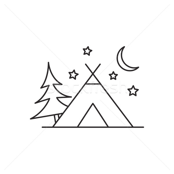 600x600 Outline Camping Tent Icon Isolated On White Background Vector