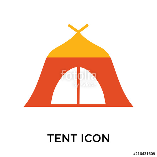 500x500 Tent Icon Vector Sign And Symbol Isolated On White Background