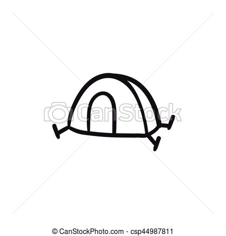 450x470 Tent Sketch Icon. Tent Vector Sketch Icon Isolated On Background