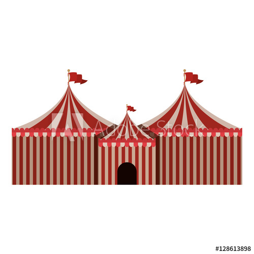 500x500 Big Red And White Circus Tent Icon Vector Illustration