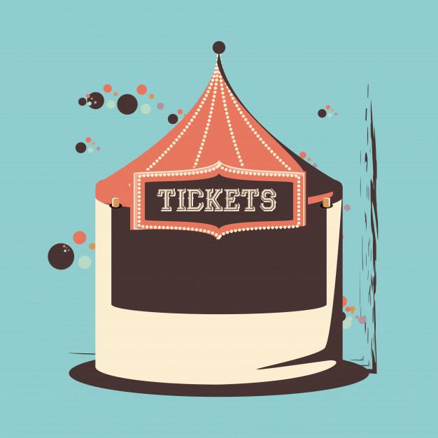 626x626 Carnival Tickets Shop Tent Icon Vector Illustration Design Vector
