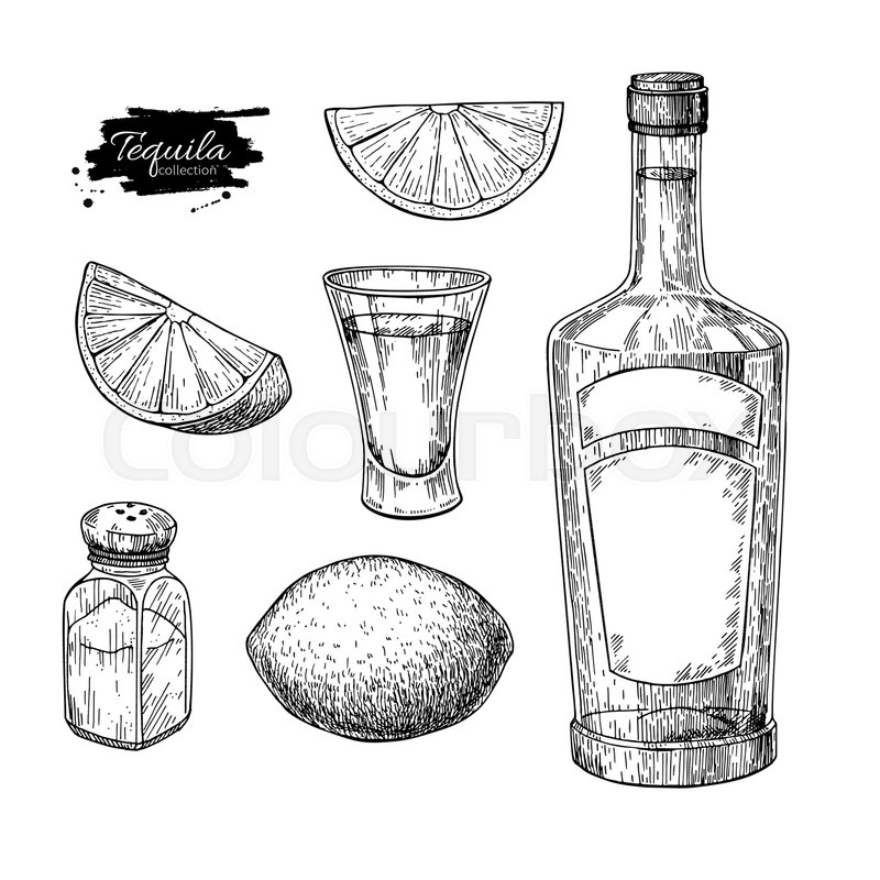 800x800 Tequila Bottle, Salt Shaker And Shot Glass With Lime. Mexican
