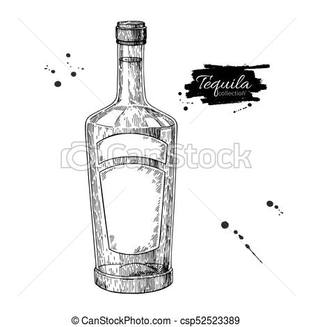 450x470 Tequila Bottle Drawing. Vodka, Cocktail, Alcohol Drink Vector