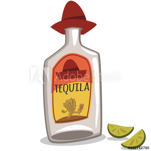 500x500 Tequila Bottle In A Sombrero And Two Pieces Of Lime. Vector