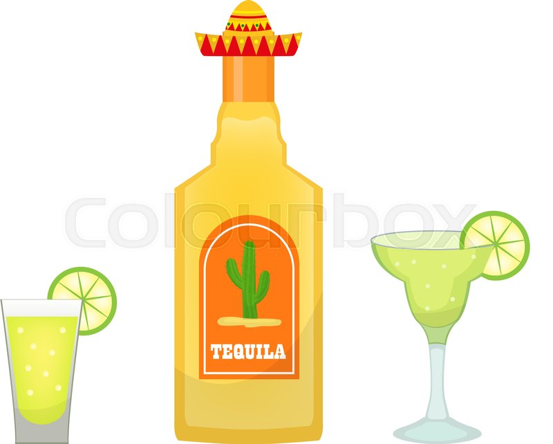 800x642 Tequila Bottle With Glasses And Pieces Of Lime Icon Flat, Cartoon