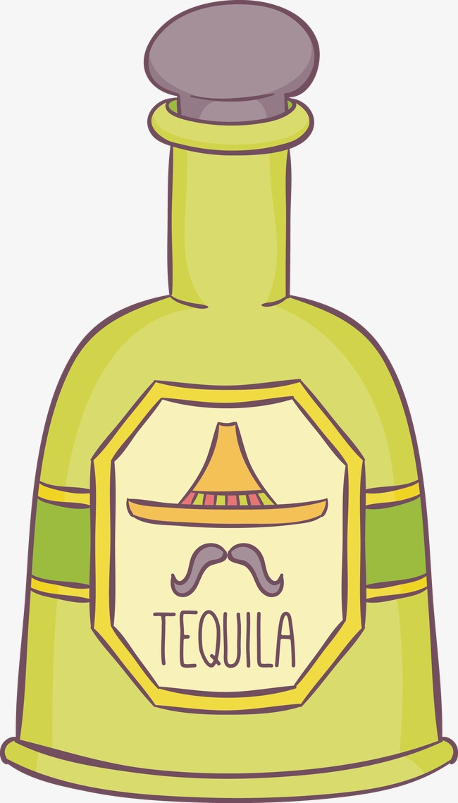 650x1139 Vector Hand Painted Bottle, Bottle Vector, Tequila, Green Bottle